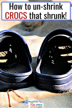 Are your Crocs too small? Here's how to unshrink Crocs shoes! Crocs shoes shrink when exposed to high heat (left in a hot car, washed in the dishwasher or washing machine, left out in the sun). See how to unshrink Crocs, if yours shrunk and now they're too small to wear comfortably. #shoes #sandals #footwear