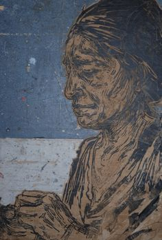 By Swoon  old woman on wood.JPG (432×640)