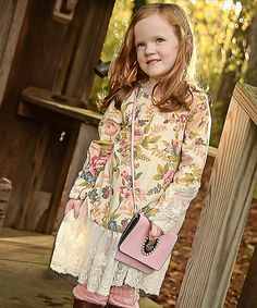 Look at this Yellow Floral Lace-Trim Tunic - Toddler & Girls on #zulily today!