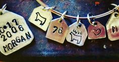 Personalized ear tag bracelet and necklace charms from Farm Girl Factory