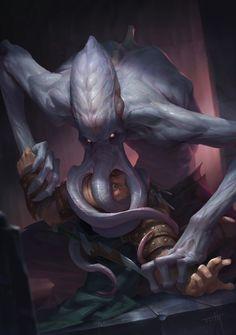 Dungeons and Dragons,Mind Flayer,Tooth Wu,artist,Illithid Dark Fantasy Art, Fantasy Rpg, Fantasy Artwork, Rpg Horror, Horror Art, Fantasy Monster, Monster Art, Fantasy Creatures, Mythical Creatures