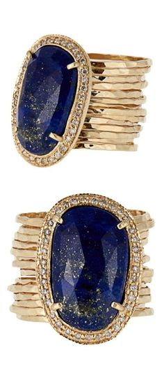 Jacquie Aiche Diamond, Lapis and Yellow Gold Ring - me encanta el dorado combinado con azul!!