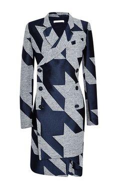 Antonio Berardi macro houndstooth tweed and satin jacquard coat dress.