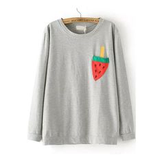 Grey Round Neck Watermelon Print Loose T-Shirt ($19) ❤ liked on Polyvore featuring tops, t-shirts, gray top, gray t shirt, loose fitting tops, loose fit tops and round neck top
