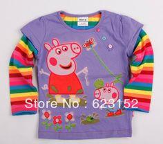 fd7f112b0 FREE SHIPPING F2535# Purple Girls long sleeve peppa pig t-shirt colorful rainbow  sleeve kids autumn top fall children t-shirt $31.99