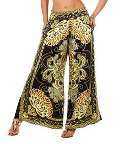 Another great find on #zulily! Black & Gold Scarf-Print Palazzo Pants by Classique #zulilyfinds