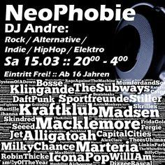 NeoPhobie (DJ Andre) - Rock/Alternative/Indie/HipHop/Elektro :: Sa 15.03. :: 20.00 - 4.00 :: Eintritt Frei :: Einlass ab 16 Jahren #radhaus #kleve #radhauskleve #goch #emmerich