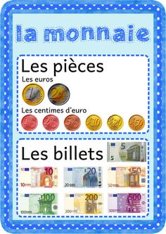 affiche-la monnaie Autism Education, Bar Graphs, Thinking Day, 2nd Grade Math, Word Problems, Fractions, Math Games, Kids Learning, How To Memorize Things