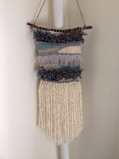 Handmade hanging wall weaving with fringe by miniweaver on Etsy, $38.00