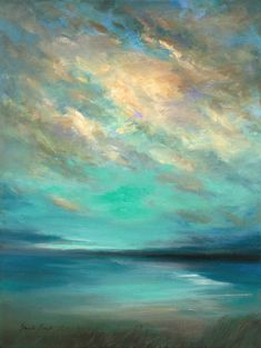 Original Art Oil/Paint Painting, measuring: 30W x 41H x 4D cm, by: Sheila Finch (United States). Styles: Impressionism, Modern, Fine Art. Subject: Seascape. Keywords: Teal, Gold, Beach, Peaceful, Nature, Spiritual, Siesta Key, Florida, Clouds, Yellow, Keys, Blue. This Oil/Paint Painting is one of a kind and once sold will no longer be available to purchase. Buy art at Saatchi Art. Sea Turtle Painting, Sky Painting, Seascape Paintings, Landscape Paintings, Picasso Famous Paintings, Fire Art, Ocean Art, Abstract Landscape, Canvas Art