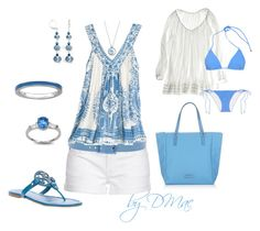 Blue Chic to Beach by dmac30 on Polyvore featuring polyvore fashion style Calypso St. Barth 7 For All Mankind Shimmi Tory Burch Marc by Marc Jacobs Fantasy Jewelry Box Tie-Ups clothing