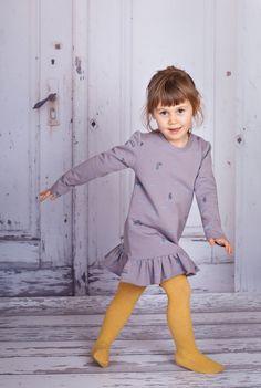 Sukienka w kaczuchy/ jasny popiel - DUCKEGGREPUBLIC - Eko sukienki dla dziewczynek