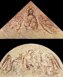 Simone Martini: le Sauveur bénissant (tympan) et Madone d'humilité (lunette). 1341. Troisième synopie. Avignon, Palais des papes