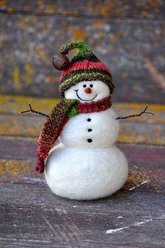 Wool Needle Felted Snowman - by Teresa Perleberg  #Christmas