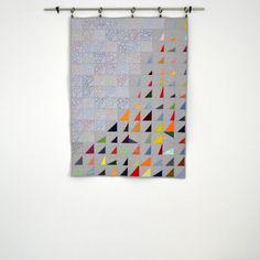 Modern Baby Quilt Geometric Baby Bedding Triangle by TwiggyandOpal