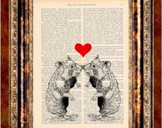 HAMSTERS in LOVE Vintage Color Art Print Antique 1800's Book Page or Dictionary Page Upcycled Recycled