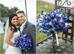Dendrobium orchids  |  Orchid bouquets  |  Blue and purple bouquets  |  Stem-dyed orchids  |  Blue and purple weddings  |  Pensacola Destin Wedding Photographer