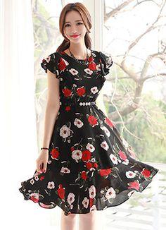 Floral Print Ruffle Sleeve Flared Dress, Styleonme