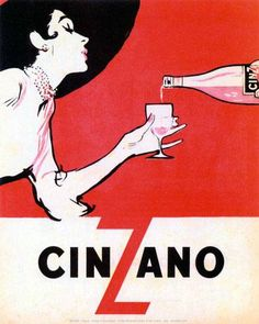 Vintage Poster - Cinzano - Drinking - Alcohol