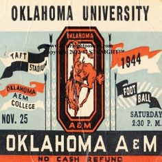 Father's Day Gifts under $40! 1944 OU Sooners vs. Oklahoma AM Aggies Football Ticket Coasters.™ Football Gifts, football gift ideas, Oklahoma football gifts. Best Father's Day Gifts 2013. Father's Day gift ideas under $40. Ceramic drink coasters made from over 2,000 historic college football tickets printed in the U.S.A. and shipped within 24 hours. #47straight #fathersdaygifts