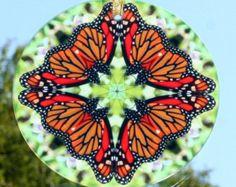 Monarch Butterfly Suncatcher Glass Sacred Geometry Mandala Kaleidoscope Jeweled Jubilee