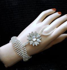 Vintage Style Bridal Bracelet, Silver 1920s Crystal Bracelet, The Great Gatsby Jewelry, Wedding Art Deco Rhinestone Slave Bracelet, by AyansiWeddingDesigns on Etsy