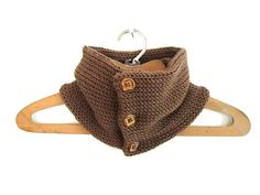 Knit Bandana Cowl Scarf - Brown with Wooden Buttons - Handmade. $42.00, via Etsy.