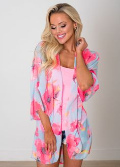 Neon Pink Floral Sheer Kimono, Kimono, Shopmvb, Women's Boutique, Online Shopping, Fashion, Style,  Modern Vintage Boutique