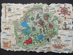 """Grade 8 and 9 students created these detailed Treasure Maps. I saw this lesson on a Canadian arts & crafts TV show, """" Art Zooka """". Pirate Treasure Maps, Pirate Maps, Pirate Crafts, Map Projects, 2nd Grade Art, Canadian Art, Middle School Art, Art Lessons Elementary, True Art"""