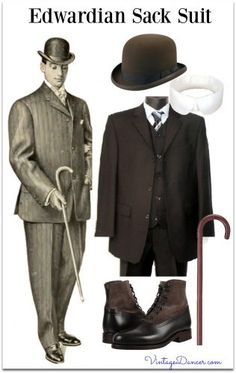 1900s Men's Edwardian Sack Suit Costume plan- classic fit 3 button suit, striped dress shirt with club collar, bowler hat, tie, lace up boots and walking cane. Find these at VintageDancer.com