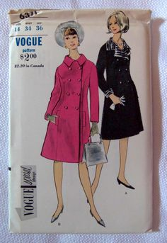 1960s Vogue 6371 Vintage Sewing Pattern Princess Double-Breasted Coat Size 14. $26.00, via Etsy.