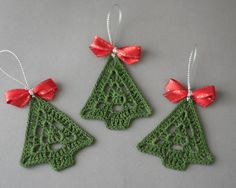Crochet Christmas ornament, crochet Cristmas tree, Christmas decoration, tree decoration, set of 3 crochet Cristmas tree ornaments, handmade decor  Set of 3 crochet Christmas tree ornamеnts.  Width- 2.4  (6 cm) Height-2.7  (7 cm)  Hand crocheted with high quality cotton thread in smokefree and petfree environment whit great attention to details. This set of Chtistmas trees is starched and arrive very well packed in a sturdy box.  You can find other Christmas ornaments and presents for your…