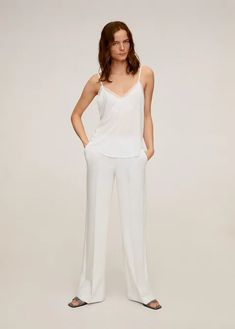 Lyocell fabric, lace detail, v-neck, thin straps, sleeveless. Mango Presents, Lace Detail, Latest Fashion Trends, White Lace, Jumpsuit, V Neck, Style Inspiration, Tank Tops, T Shirts