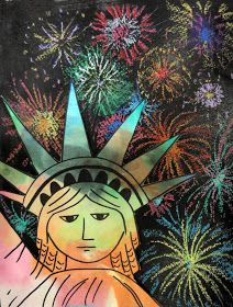 Doodle All Day: Kid Art Project - Statue of Liberty with Fireworks. Good directions for the project. Did it with 1st - 3rd grade and they came out great! The students really enjoyed the project.