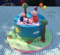 Peppa Pig birthday cake. Created by Ruby & Belle Cakes, Brighton, UK