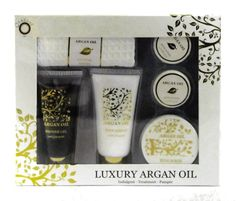 Luxury Argon Oil Bath Spa Set Gift Set. Shower Gel, Body Lotion, Scrub, 2 Bath Fizzers, 1 Waffle Face Towel