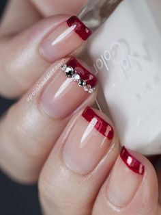 Bare / nude nails with crimson Red French Manicure tips with matching Crystals simple free hand nail art