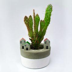 5 houses set cement. Decoration plants. de MicaRicaShop en Etsy