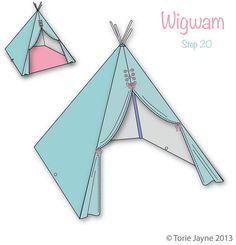 DIY teepee tutorial wigwam tipi tepee. Looks like clear instructions, but fairly complicated.