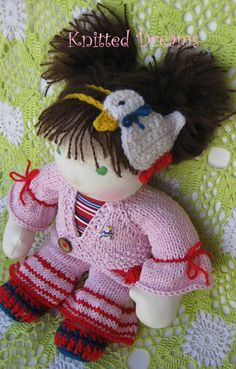 Artículos similares a Waldorf Doll Clothes, Hand Knitted Cotton Sweater dog tracks Jackets for doll. Cotton Sweater, Hand Knitting, Doll Clothes, Crochet Hats, Dolls, Christmas Ornaments, My Style, Holiday Decor, Etsy