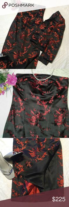 Jaeger Black Silk Embroidered Evening Gown Gorgeous beyond words! Flawless black Jaeger floor length evening gown with red embroidered cherry blossoms. Kate Middleton is photographed constantly in her Jaeger dresses! Would be an amazing prom gown with a silky wrap or wear the matching jacket for a more sophisticated look. Matching purse included for free! Jaeger Dresses Prom