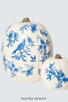 Inspired by the classic decorative style, adhesive laser-cut stencils will help you achieve beautifully fine bird and flora patterns as if you hand-painted them yourself. Follow our step-by-step tutorial for this painted no-carve pumpkin decor idea. #marthastewart #pumpkins #diypumpkins #falldecor #halloween Pumpkin Uses, Pumpkin Art, Best Pumpkin, Pumpkin Carving, Halloween Pumpkins, Halloween Crafts, Fall Halloween, Halloween Decorations, Holiday Decorations