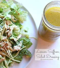 Tangy and delicious, this Lemon Saffron Salad Dressing is great on everyday salads. Add it to chicken, over pasta.it's a perfect sauce for almost any vegetable too. Fun Easy Recipes, Real Food Recipes, Vegetarian Recipes, Cooking Recipes, Healthy Recipes, Salad Dressing Recipes, Salad Recipes, Salad Dressings, Saffron Recipes