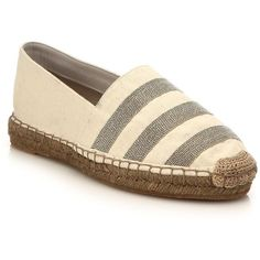 Brunello Cucinelli Monili-Striped Canvas Espadrille Flats (€1.195) ❤ liked on Polyvore featuring shoes, flats, apparel & accessories, natural, canvas shoes, striped espadrilles, flat shoes, flat slip on shoes and espadrilles shoes
