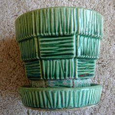 "McCoy - Vintage Green Basketweave Flower Pot & Built-In Saucer - VERY SMALL 3"""