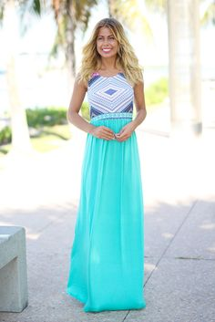 Pretty colours  Mint Maxi Dress with Printed Top