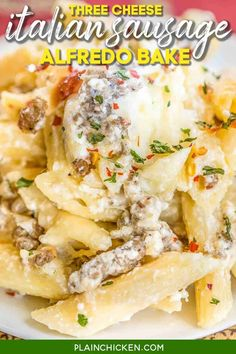 Three Cheese Italian Sausage Alfredo Bake - great make-ahead pasta dish. Penne pasta, alfredo sauce, sour cream, ricotta, garlic, Italian sausage, eggs, parmesan, and mozzarella cheese. SO good!! We make this at least once a month! Can freeze half for later. This is THE BEST pasta casserole we've ever eaten!!! #casserole #freezermeal #pasta #sausage #alfredosauce Ground Italian Sausage Recipes, Sausage Recipes For Dinner, Italian Sausage Pasta, Sweet Italian Sausage, Penne Pasta Recipes, Sausage Pasta Recipes, Pasta Dishes, Macaroni Recipes, Recipe Pasta
