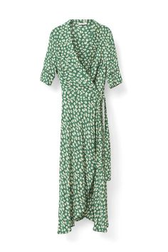 Kimono-style dress with a delicate stylish  pattern and frill details cut to fit close to the  body. <br /><br />Model is 175cm tall and wearing a size  small/ 36