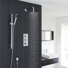 Chrome Square Slide Rail Kit With Thermostatic Triple Shower Valve and 8