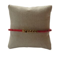 Red and Brass Beaded Bracelet